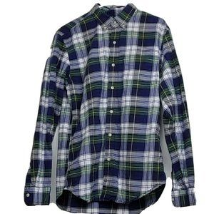 J Crew Green Flannel Button Down Shirt Men's SZ:M